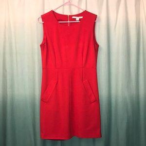 DVF front pocket red mini dress